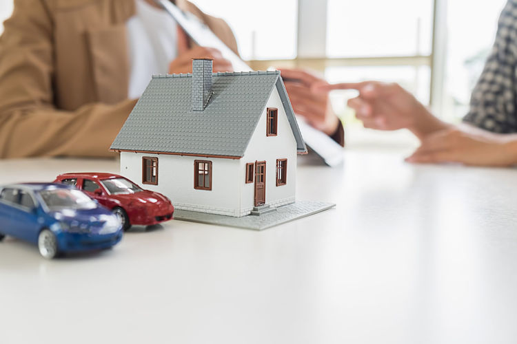 High angle view of toy car on table in house