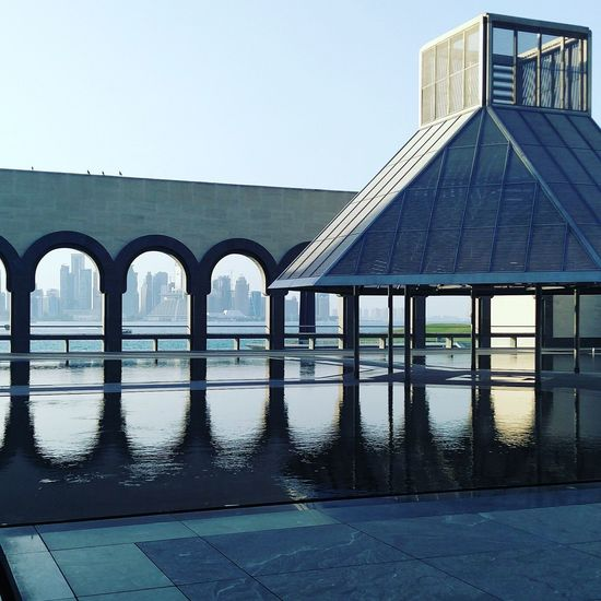 EyeEmNewHere Museumofislamicarts Museum Doha,Qatar Architecture Built Structure Reflection Clear Sky Building Exterior Day Water No People Outdoors Nature Sky