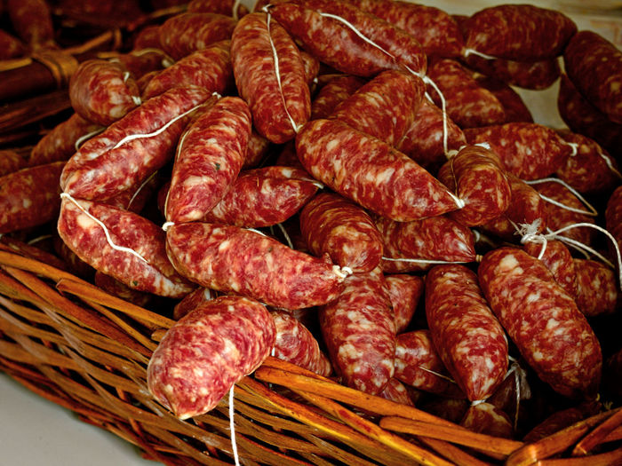 Sausage party. Cultures Food Food And Drink Freshness Groceries Healthy Eating Italian Food Market Market Stall Meat Natural Food No People Organic Food Pork Chops Pork Meat Red Red Meat Salami Sausage Sausage Party Sausages Traditional Food Food Stories