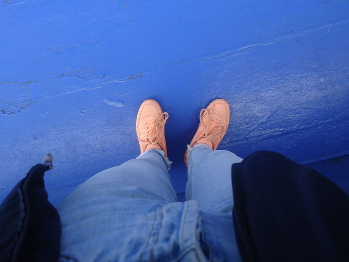 Blue Day Human Body Part Human Leg Jeans Lifestyles Low Section Outdoors Outfit Personal Perspective Ship Shoe Standing