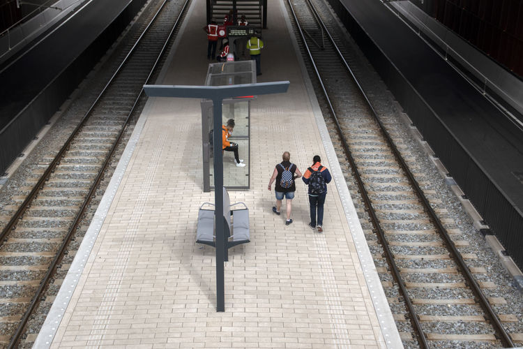 High angle view of people on railroad station platform