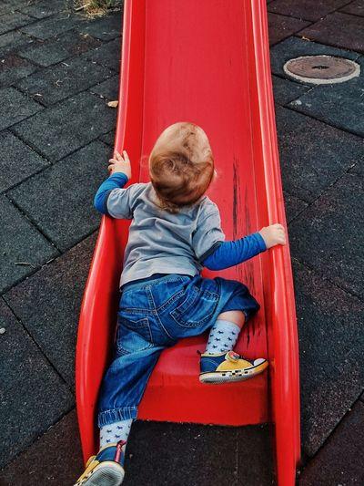 Baby Crawling On Slide