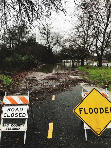 Flooded Road Closed Road Closed Sign River Trail Bike Trail Outdoors Information Sign Warning Sign Forbidden Communication Text Tree No People Guidance Day Road Sign Road No Parking Sign Barricade Warning Park The Secret Spaces