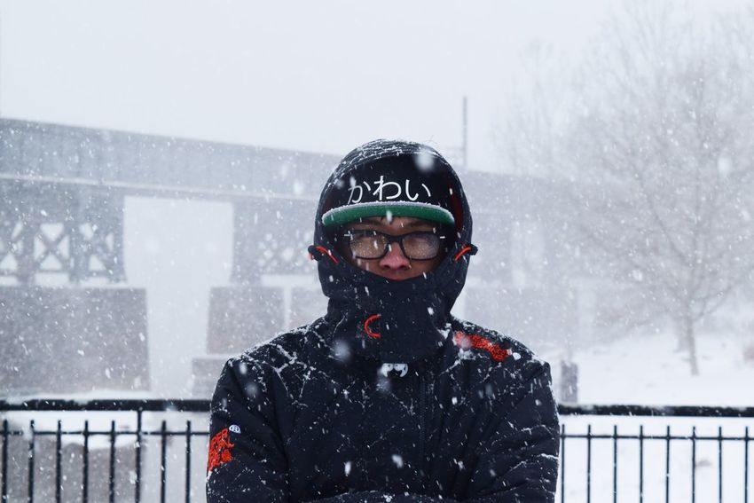 """""""I came prepared today"""". Blizzard 2016 Carefree Close-up Focus On Foreground Lifestyles Perspective Photographer Portrait Real People Snow Struggle Warm Clothing Learn & Shoot: Working To A Brief"""