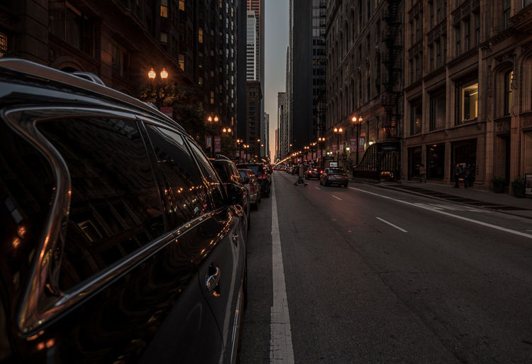 Chicago street capture Architecture Buildings Car Childhood City City Street End Of The Day Illinois Perspective Street Street Lights Street Lines Street Photography