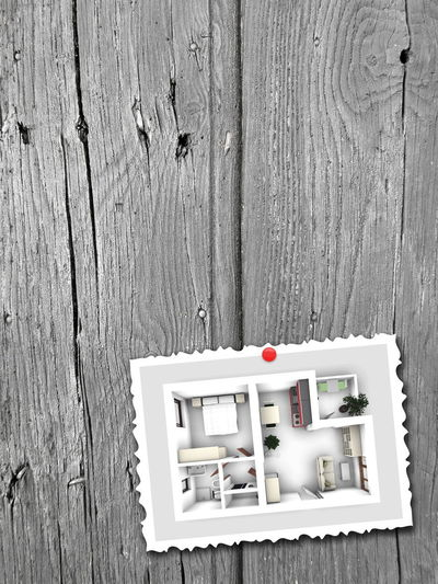 Close-up shot of postcard home apartment rendering on grey wooden background 3D 3D Art 3d Rendering Close-up Day DIY Home Home Interior Home Sweet Home Indoors  No People Plank Plant Postcard Rendering Table Wood - Material Wood Paneling Workshop