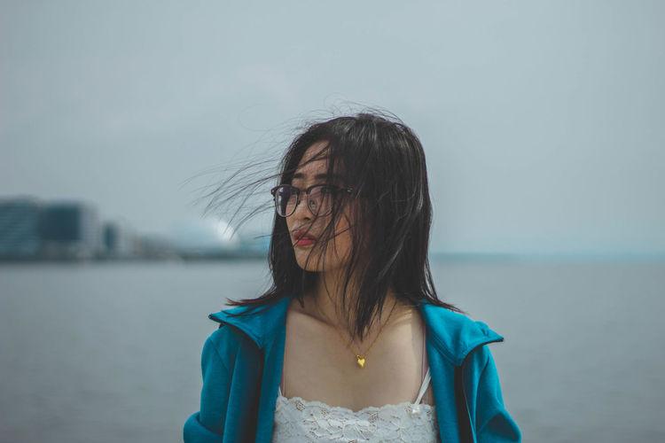 forgotten EyeEm Selects Water Young Women Portrait Headshot Long Hair Front View Human Lips Beautiful Woman Wet Hair Sky