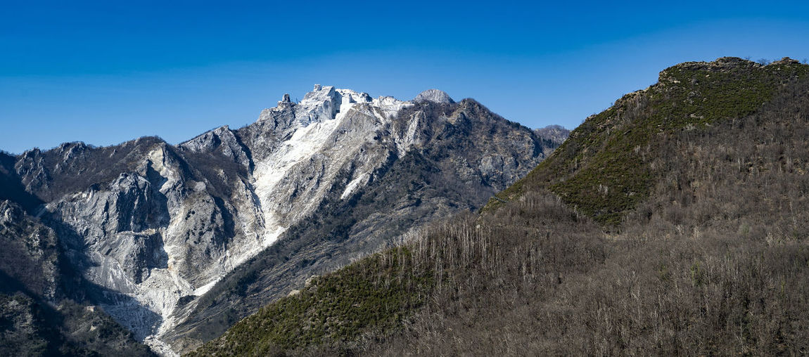 Low angle view of mountain range against clear blue sky