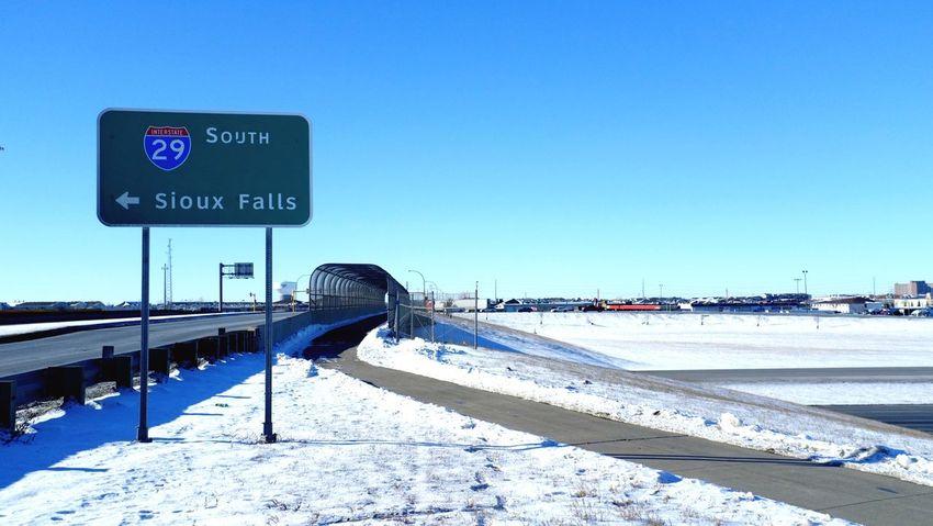 QVHoughPhoto FujiFilmX100 Fargo Northdakota I29 Roadsign Siouxfalls Winter Snow MidWest Cityscapes Life2