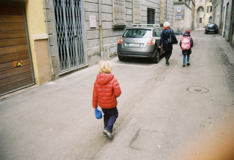 Kids Blond Hair Childhood City Italy Outdoors People Real People Rear View