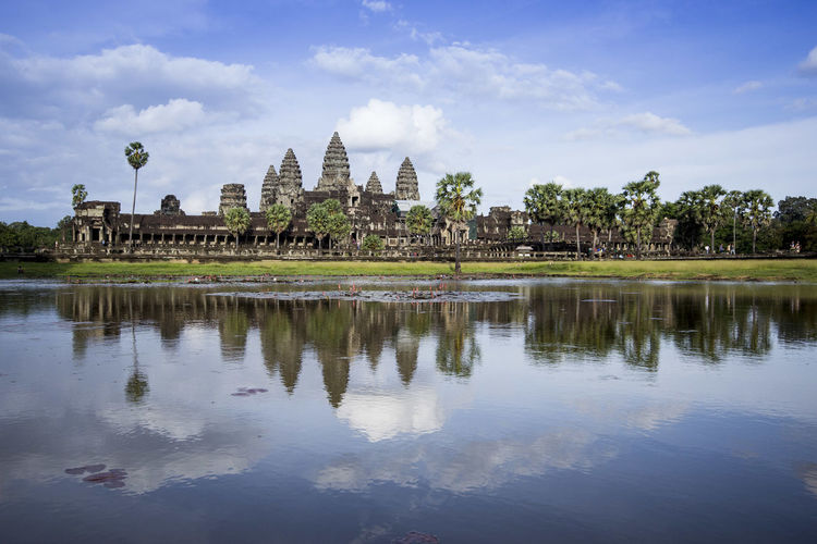 Lake At Angkor Wat Against Sky