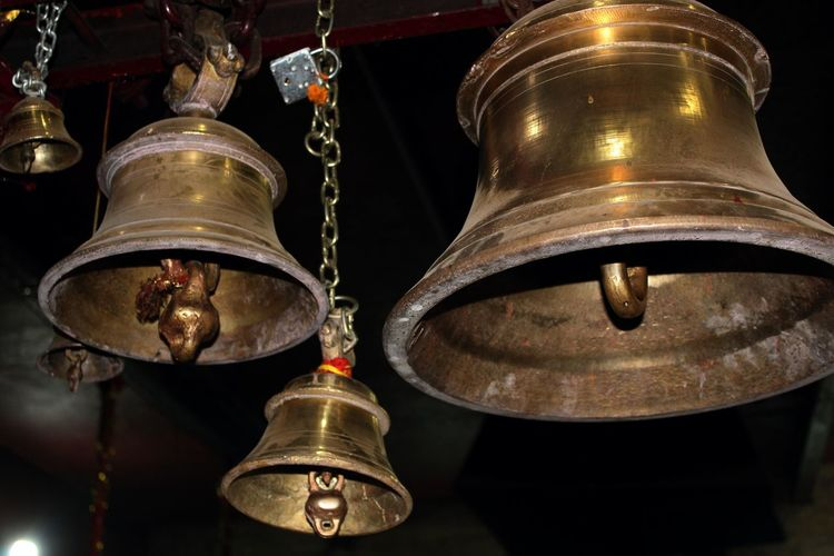 Temple bells Gold Colored Electric Lamp Building Built Structure Focus On Foreground Close-up Religion Illuminated Place Of Worship No People Architecture Lighting Equipment Low Angle View Hanging Metal Bell Indoors  Belief Spirituality