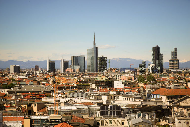 Milano, panoramic view from the rooftop of Duomo Cathedral. Details of the new city skyline. Architecture Blue Building Exterior Built Structure Capital Cities  City City Life Cityscape Day Duomo Rooftop Milano Milanocity No People Outdoors Panorama Panoramic View Residential District Sky Travel Destinations Urban Landscape