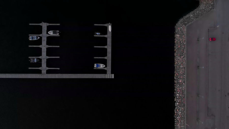 Salmisaari, Helsinki Single Car Stone Wall Breakwater Modern Urban Birds Eye View Drone Photography Droneshot Drone  Dark Water Dark Sea Evening No People Empty Boats Pier Dark Copy Space Architecture Symmetry Abstract Aerial View Mavic Air Black Background