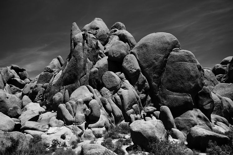 Low angle view of rock formation at joshua tree national park against sky