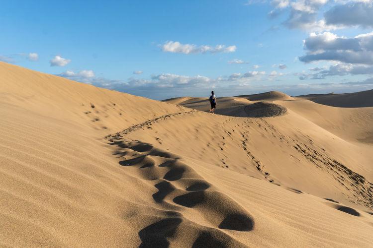 Dunas de Maspalomas Sky Beauty In Nature Tranquility Nature Scenics - Nature Tranquil Scene Environment Land Non-urban Scene Landscape Outdoors Atmospheric Sand Dune Sand Remote FootPrint Arid Climate