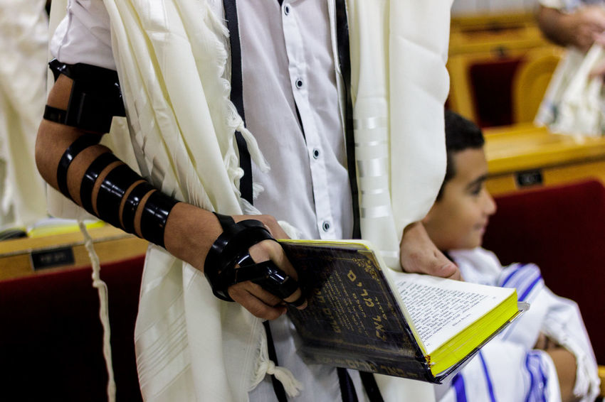 Bar Mitzvah Religion And Tradition Torah Bar Mitzah Childhood Human Hand People Real People Religion Religion And Beliefs Religious  Standing Tfilin Togetherness