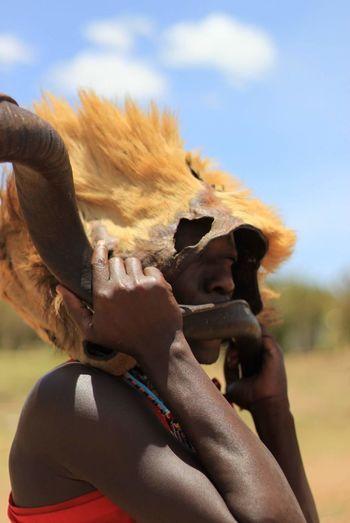 Kenya Kudu Horn Masai Mara Smiling Portrait Fun Shirtless Heat - Temperature Beauty Sky