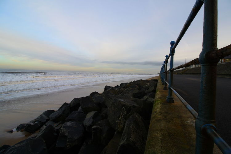 OUT AND ABOUT IN HARTLEPOOL Sea Water Sky Beach Rock Land Scenics - Nature Rock - Object Solid Tranquility Sunset Beauty In Nature Cloud - Sky Horizon Over Water Nature Horizon Tranquil Scene No People Motion Outdoors