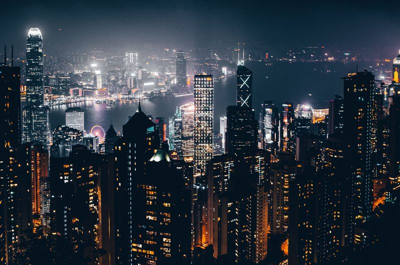Building Exterior Architecture Built Structure Cityscape City Building Skyscraper Night Tall - High Modern Tower Urban Skyline Nightlife Travel Destinations Travel путешествия HongKong Light And Shadow Lights City Nightphotography Nikon Blue Colors Streetwise Photography