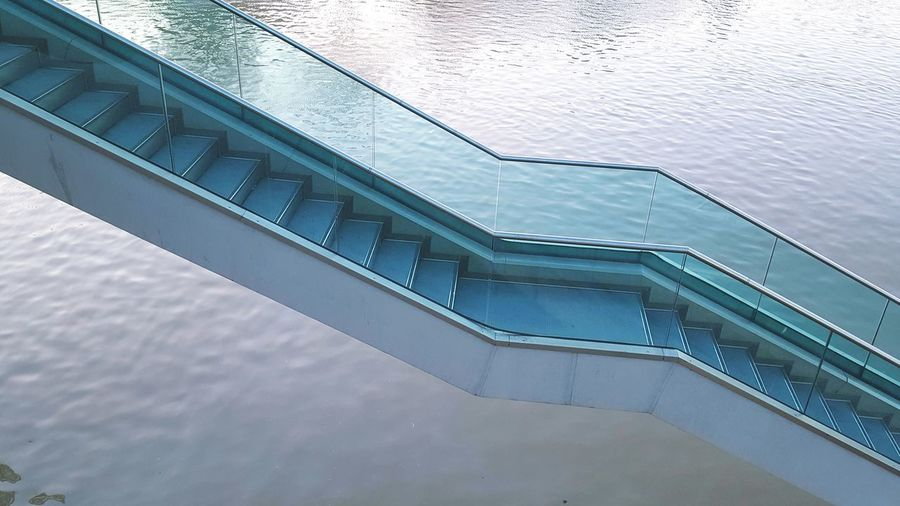 High Angle View Of Steps Over River