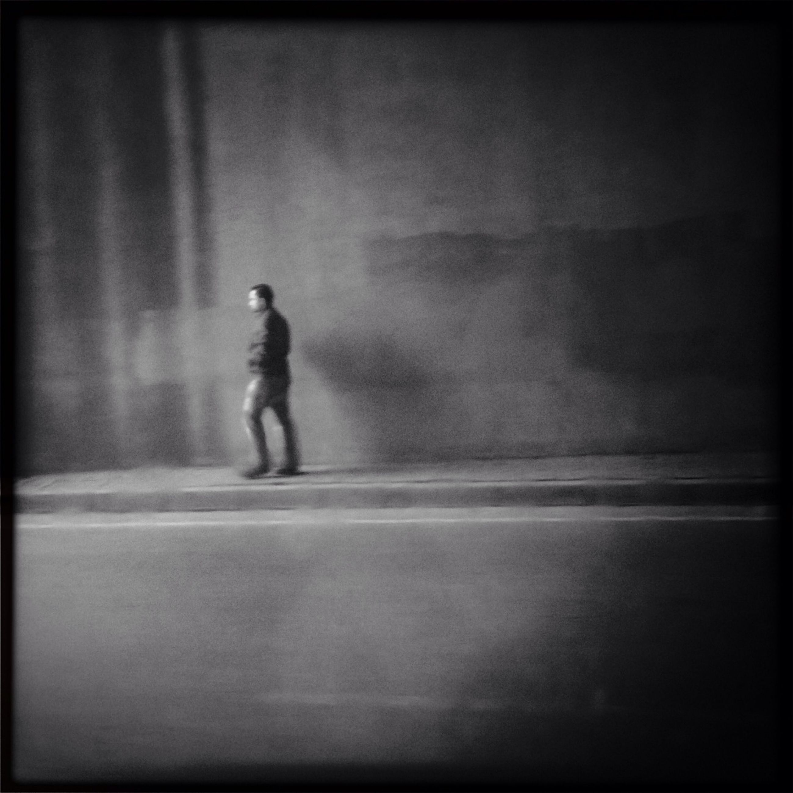 full length, transfer print, lifestyles, auto post production filter, walking, leisure activity, men, rear view, silhouette, side view, street, standing, motion, shadow, casual clothing, childhood, road, on the move