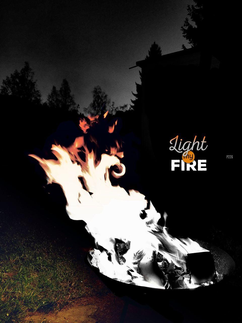 flame, no people, burning, tree, night, outdoors, illuminated, sky