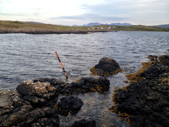 Looking towards Ullinish on the west coast of Skye with the Cuillins mountains on the horizon Scotland Skye Coast, Highlands Highlands Of Scotland Landscape No People Outdoors Rock Sea Water