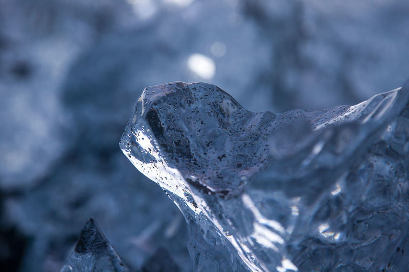 Close-up of frozen ice