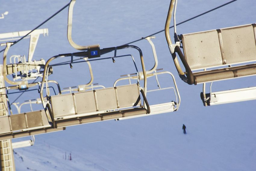Transportation No People Ski Lift Outdoors Sky Wintertime Cold Temperature Chairlift Skiing Cold Emptiness Empty Chairs Snow Sports Absence