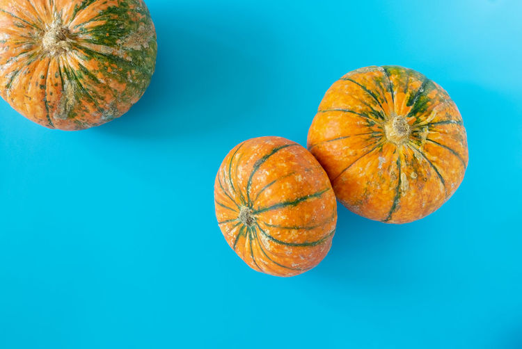 Directly above shot of pumpkins against blue background