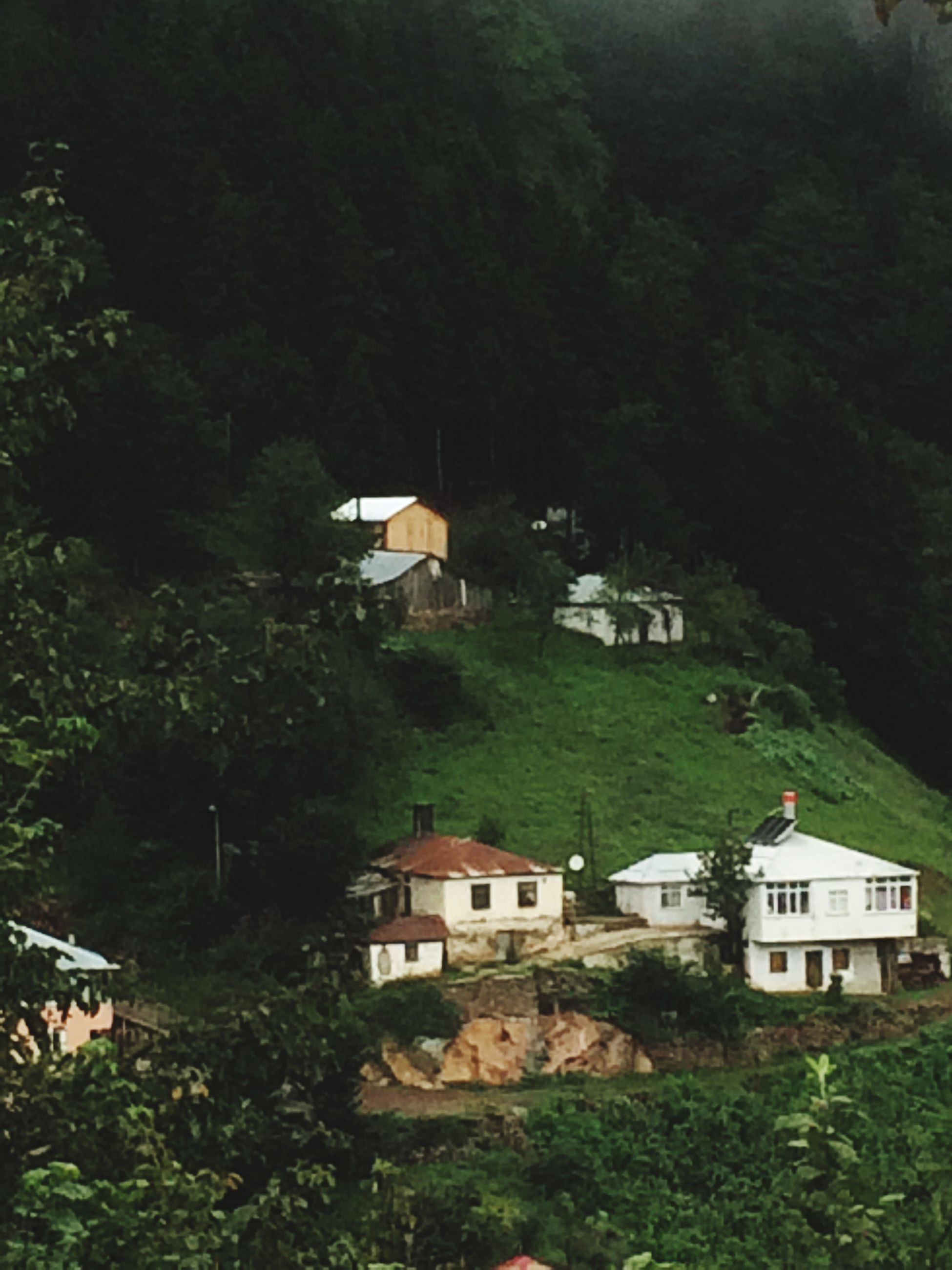 built structure, building exterior, house, architecture, residential structure, tree, residential building, high angle view, residential district, green color, growth, cloud - sky, day, town, outdoors, scenics, mountain, lush foliage, no people, rural scene, remote, non-urban scene, valley, agriculture, farm
