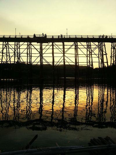 Wooden Mon Bridge In The Sunset Sangklaburi Kanchanaburi Thailand Silhouette
