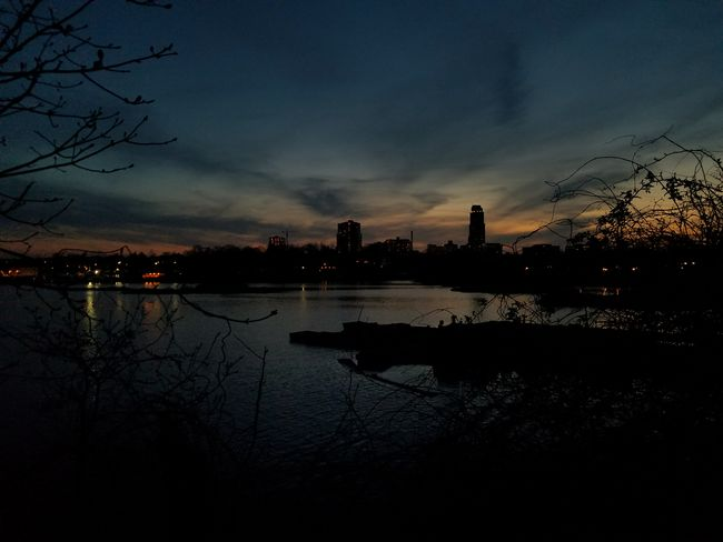 Silhoute of downtown New Rochelle at Five Islands Park (4/23/2018) Dusk Water Tree City Reflection Sunset Sky Cloud - Sky Silhouette Calm Cloud Dramatic Sky Romantic Sky