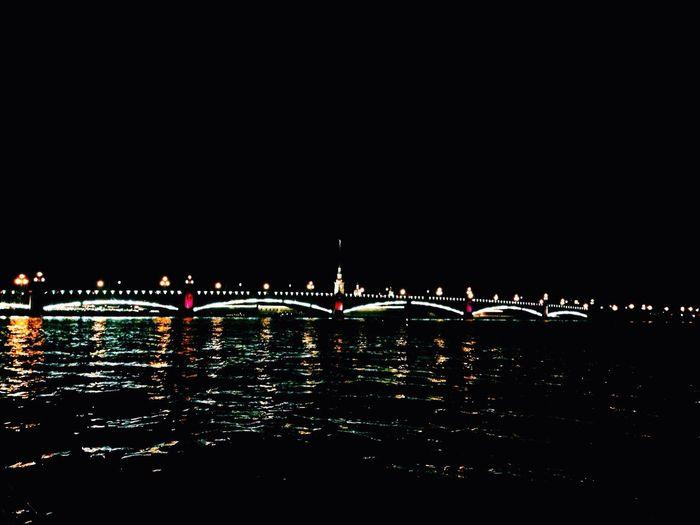 Hello World Piter  City River Bridge Amazing Night