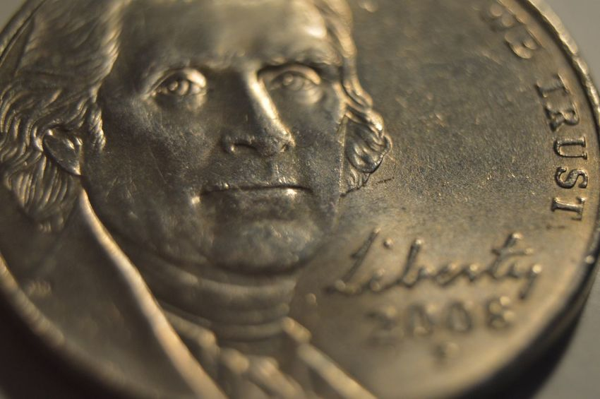 Close-up Detail Extreme Close-up Human Face Nickel Portrait Thomas Jefferson