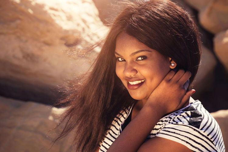 Beautiful Girl Smiling in Nature Girl Woman Female Lady Teenager Youth Purity Christian Smile Happy Joy Positive Confidence  Confident  Nature Rejoice Beautiful African American Ethnicity Multicultural person Adult Race Sunshine Healthy