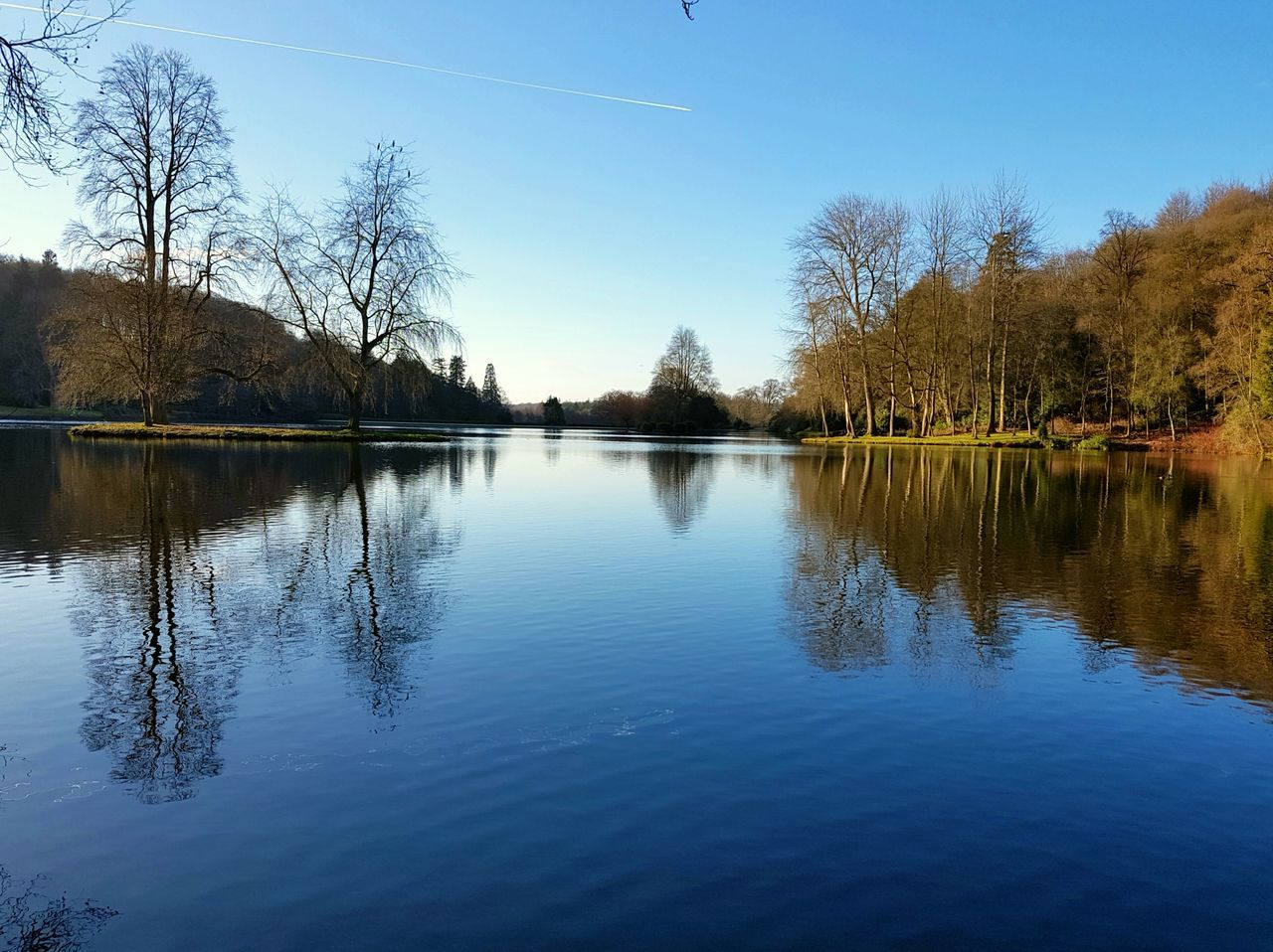reflection, water, tree, lake, tranquil scene, beauty in nature, tranquility, nature, scenics, waterfront, outdoors, no people, sky, day, bare tree, clear sky