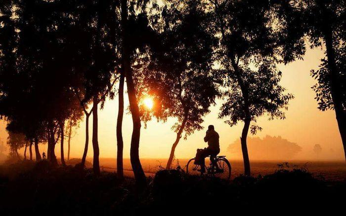 Winter Shiluette Bicycle Taking Photos Black Color Morning Sky Comilla, Bangladesh 2016
