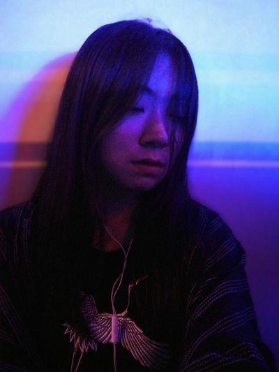 Futuristic Young Women Portrait Beautiful Woman Studio Shot Human Face Headshot Beauty Purple Beautiful People