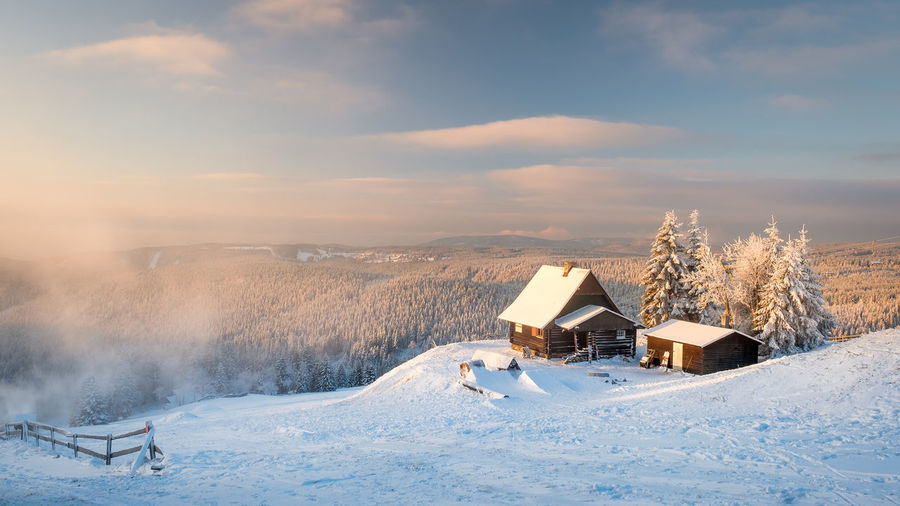 Czech Republic Erzgebirge EyeEmNewHere Fichtelberg Architecture Bare Tree Beauty In Nature Building Exterior Built Structure Cloud - Sky Cold Temperature Day House Landscape Nature No People Ore Mountains Outdoors Scenics Sky Snow Tschechien Winter
