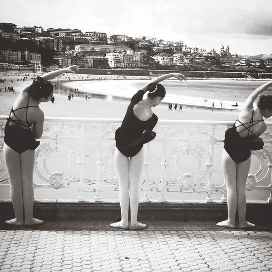 ballet on the beach Grace Beautiful WOW Morningstroll Blackandwhite Sand Beach Bailamos Baile Ballerinas Ballet ❤ SPAIN Spaın España Sansebastian Donostia Real People Architecture Building Exterior Lifestyles Outdoors Built Structure Full Length An Eye For Travel