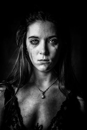 Can you change your life without pain ? Sadness Sad & Lonely Pain Portrait Photography Portraiture Blackandwhite Black Background Portrait Beautiful Woman Young Women Human Eye Beauty Looking At Camera Human Face Studio Shot Beautiful People Eye Make-up Mascara Eyeshadow