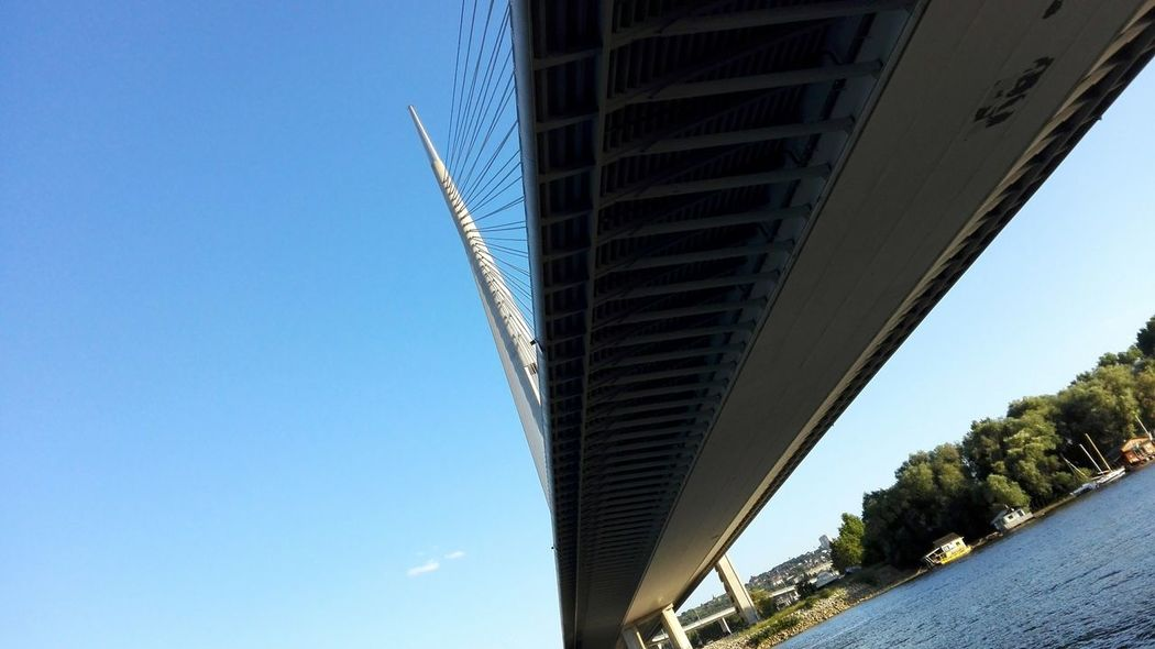 Architecture Built Structure Low Angle View Clear Sky Day Blue Sky City Bridge - Man Made Structure Bridge Over Water Eyemphotography Most Na Adi Belgrade Travel By Water
