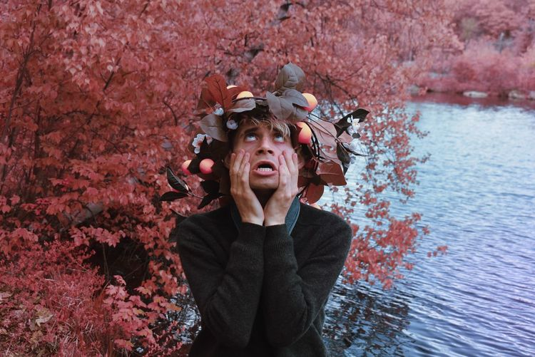 One of my favorite self portraits. distorted colors, high fashion topped with a summer wreath.