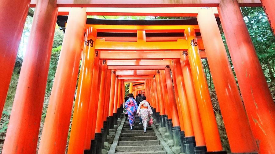 Religion Place Of Worship The Way Forward Orange Color Travel Destinations Architectural Column Spirituality Red Steps Built Structure Architecture Outdoors Real People Cultures Day Steps And Staircases Entry Japan Kyoto Blessing Temple 稻荷駅 稻荷神社 Harmony With Nature Orange Colour