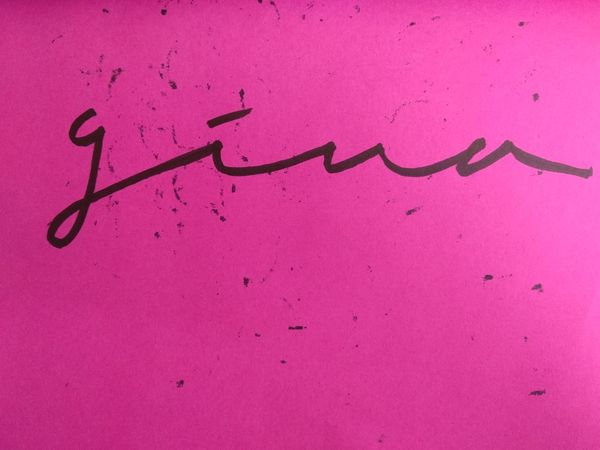 Gina Ink Pink Color Pink Background Close-up Calligraphy Handwriting
