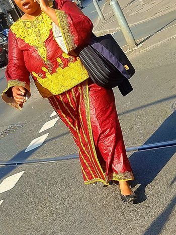 Person Portrait Portrait Of A Woman Portrait Photography Headless Headless_collection Traditional Clothing Culture Front View Casual Clothing Street Life City Life City Street Sunny Day Summertime People Photography People Walking  People_collection Woman In Red Yellow And Red Galaxy S7 Edge