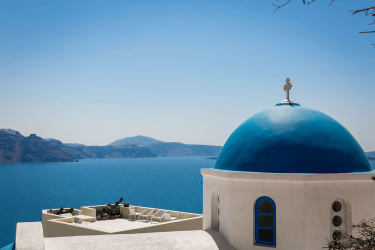 Architecture Belief Blue Building Exterior Clear Sky Day Dome Mountain Mountain Range Nature No People Outdoors Place Of Worship Religion Scenics - Nature Sea Sky Spirituality Water