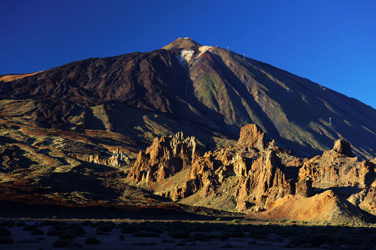 Scenic View Of Rocky Mountains At El Teide National Park Against Clear Blue Sky